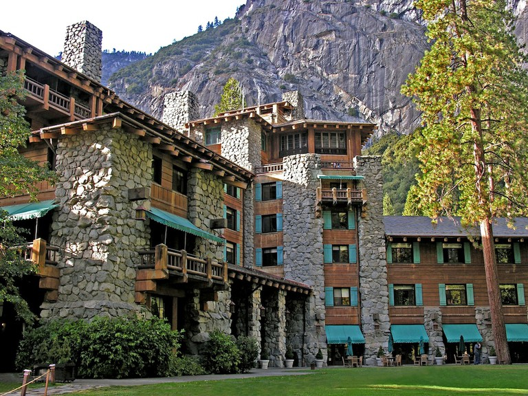 YOSEMITE NATIONAL PARK, CA - AUGUST 3, 2016: View of historic Majestic Yosemite Hotel, formerly known as Ahwahnee Hotel in Yosem