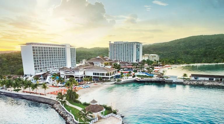 Ocho Rios, Jamaica - April 22, 2019: Coastline view with Dolphin Cove Moon Palace, in the tropical Caribbean island of Ocho Rios, Jamaica.