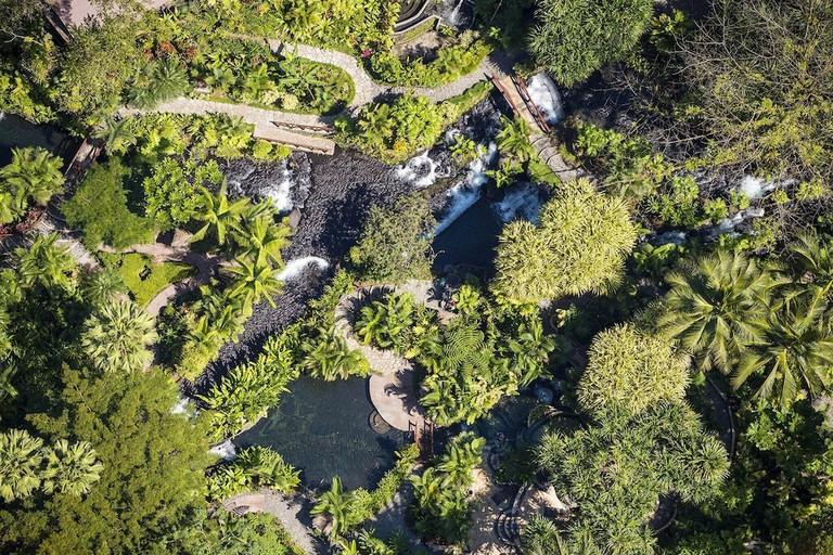 A winding river spring runs through Tabacon Thermal Resort & Spa
