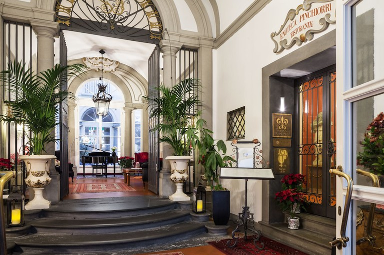 Enjoy a drink or dinner in sumptuous 18th-century surroundings at Relais Santa Croce