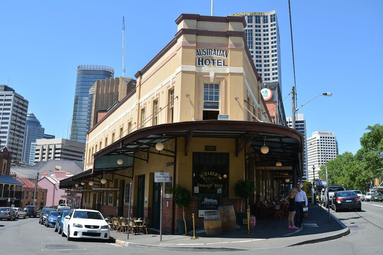 Sydney, Australia - October 3 2019: The traditional architecture of the Australian Heritage hotel and pub contrasts with modern towers in the Sydney R
