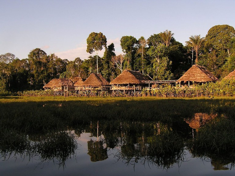 Cabins at the Kapawi Ecolodge off the Pastasa river Ecuador South America