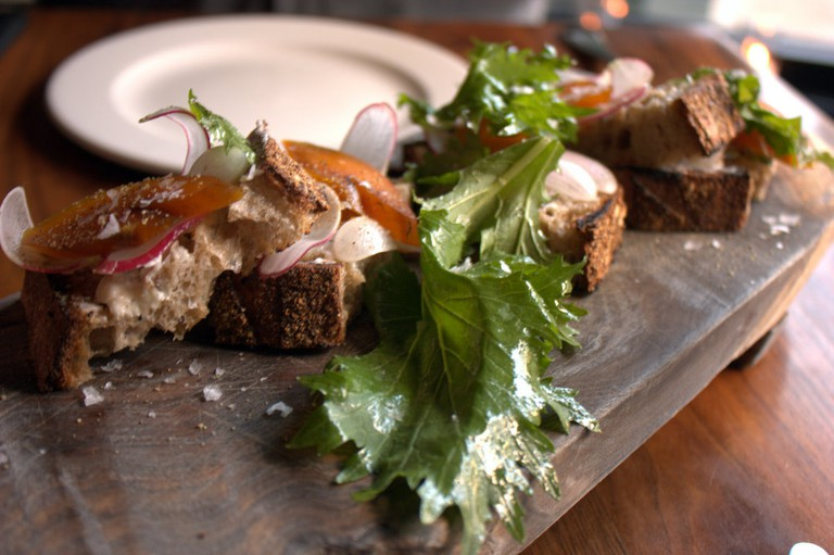 bar tartine bottarga, grilled bread, butter, radish
