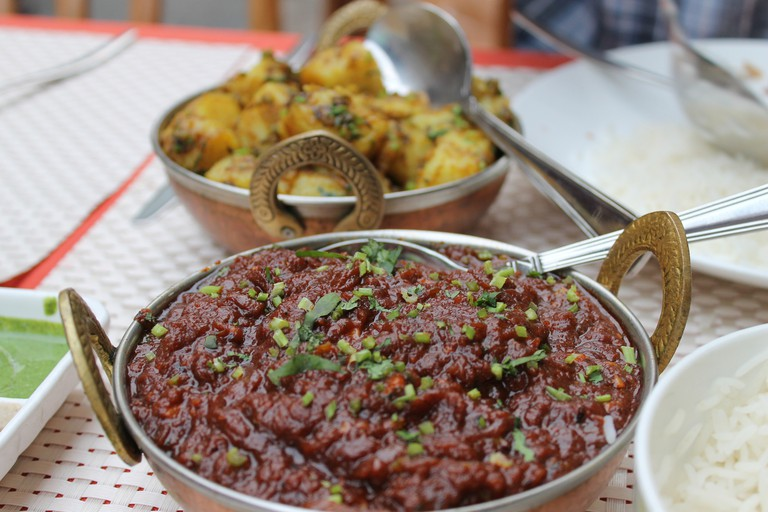 Lamb curry and potatoes