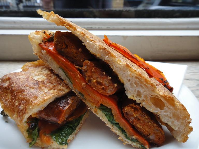 Grilled chorizo sandwich
