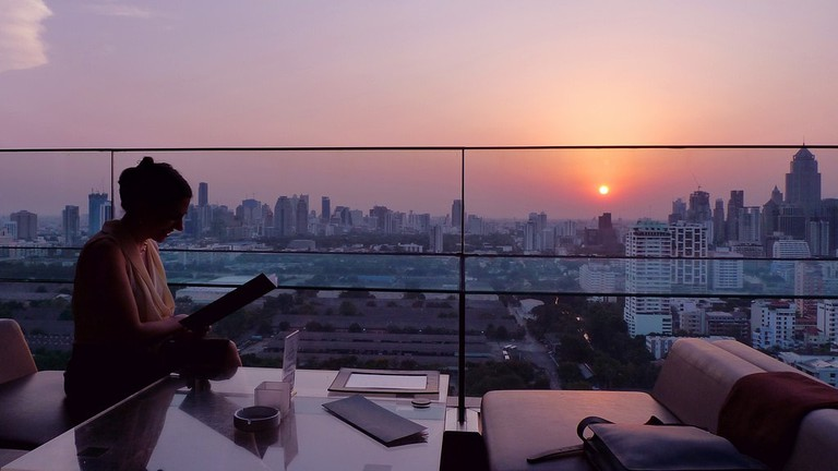 Skyline views at sunset from Long Table in Sukhumvit