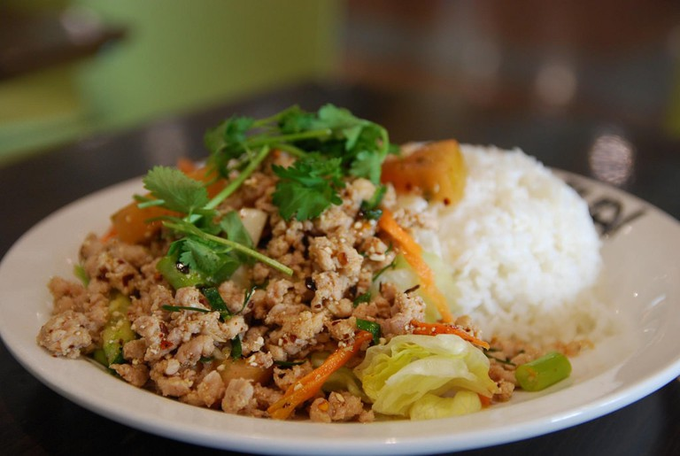 Chicken larb with rice
