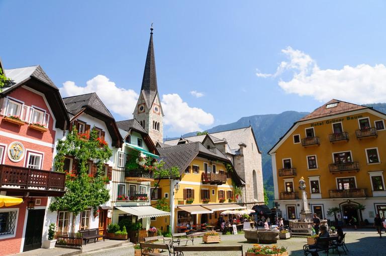 Market Square in Hallstatt, Austria   © Scirocco340/Shutterstock