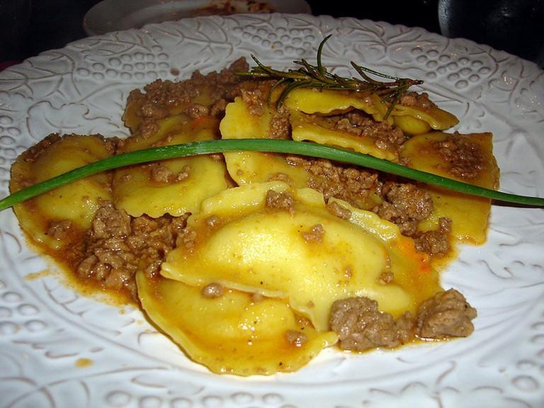Mushroom ravioli with bolognaise at Operacaffe