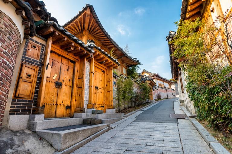 Traditional Korean style architecture at Bukchon Hanok Village in Seoul, South Korea
