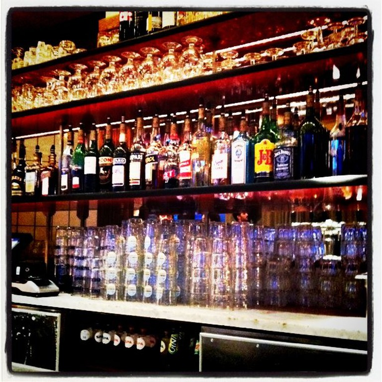 Behind the bar at Cafe Belga