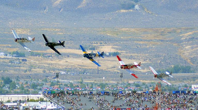 North American T-6 Texan race start 2014 Reno Air Races photo D Ramey Logan | © WPPilot/WikiCommons