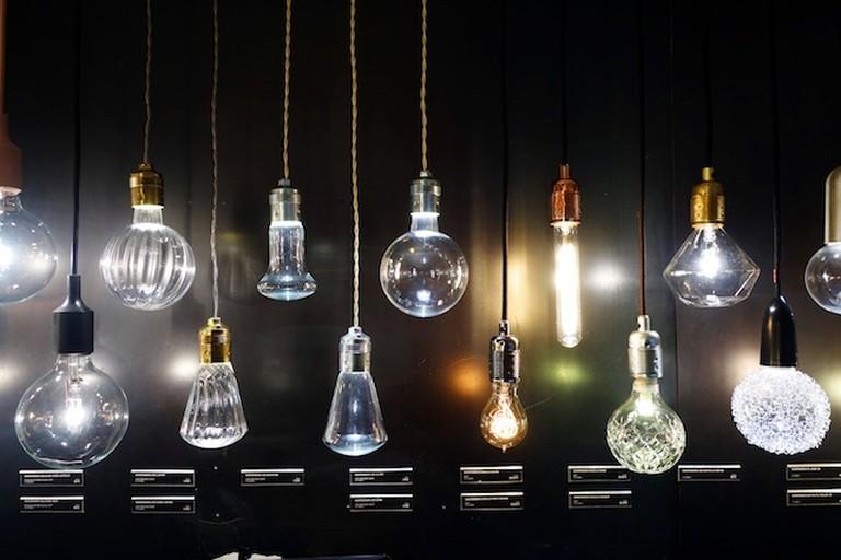 Selection of lightbulbs for sale at Merci, Paris