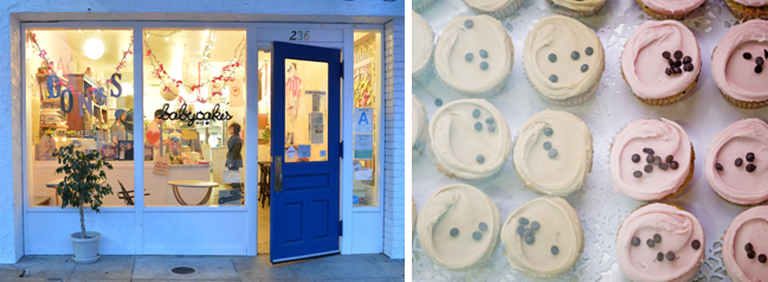 Erin McKenna's Bakery's exterior and cupcakes.