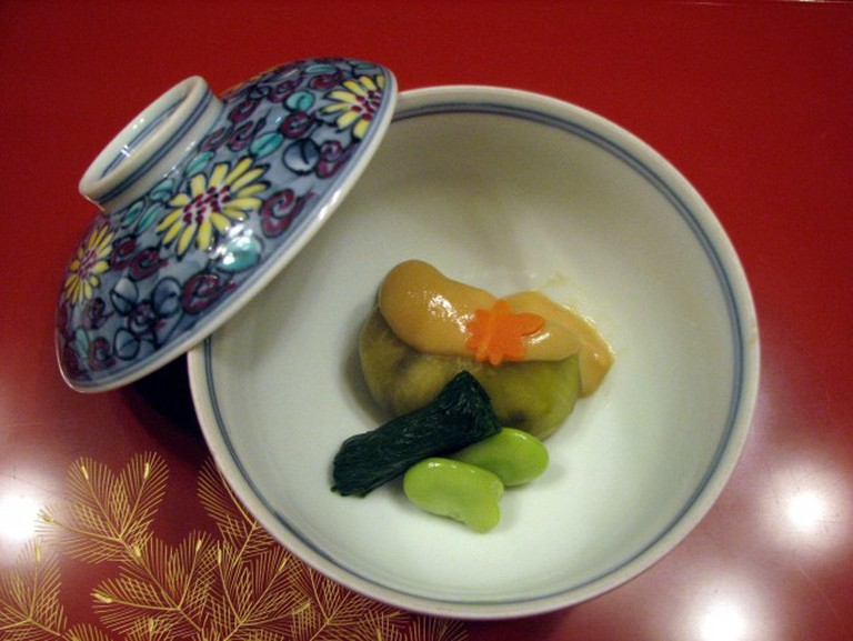 A Kaiseki dish, typical of what is served at Harise in Kyoto