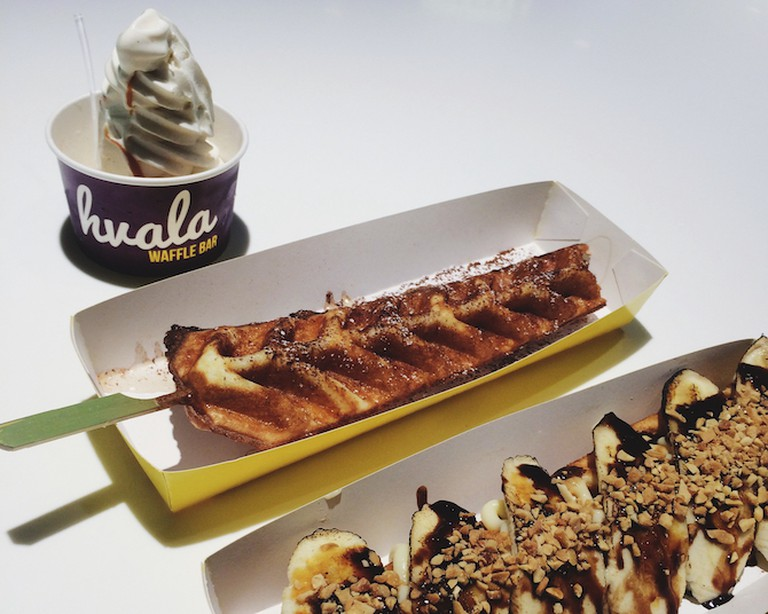 Original Hvala Waffle with Vanilla Soft Serve, Bella Banana