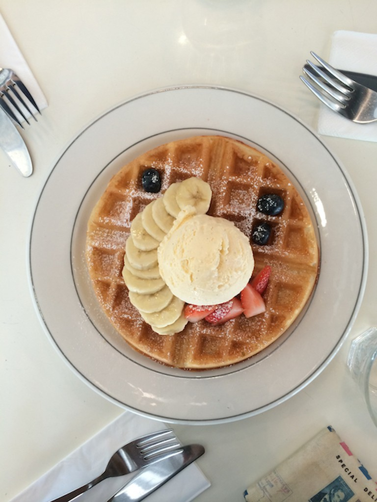 Buttermilk Waffles with Vanilla Ice Cream and Fresh Fruits