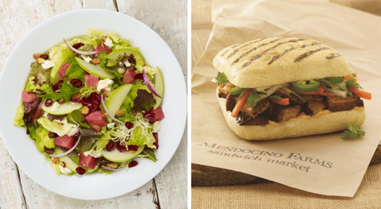 Mendicino Farms' Save Drake Farms Salad and Pork Belly Banh Mi.