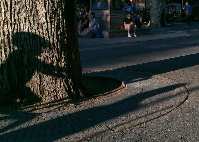 Brooklyn Street Scenes - Shadow of Boy on a Bike, Carroll Park, Brooklyn| © Steven Pisano/flickr