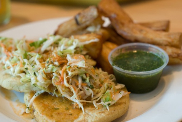 Beef and Black Bean Pupusas with Yucca Fries | © Pen Waggener/Flickr