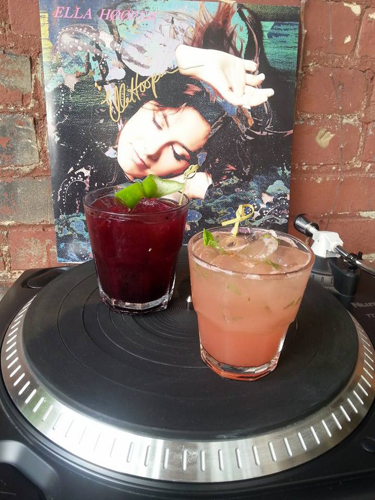 The Chipotle Watermelon Mojito (right) and the Smoked Blueberry Margarita