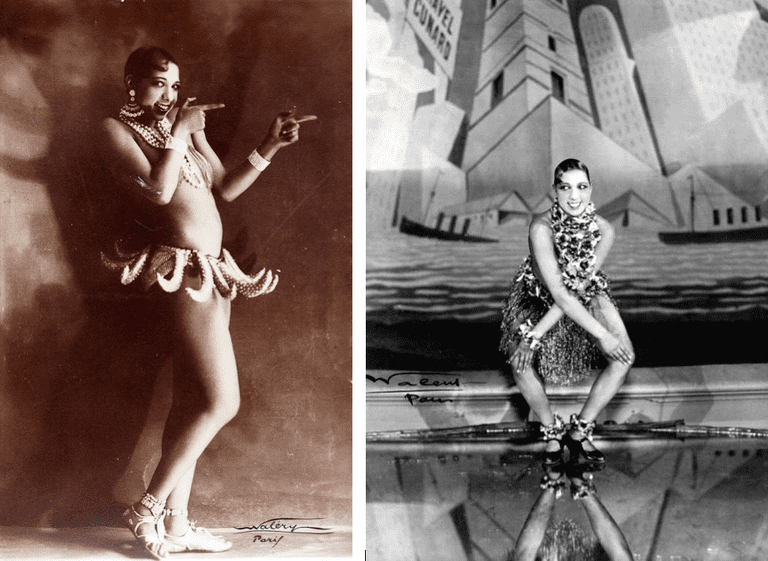 Josephine Baker performing at the Folies-Bergère. Left: © Lucien Walery, Right: © Lucien Walery l WikiCommons