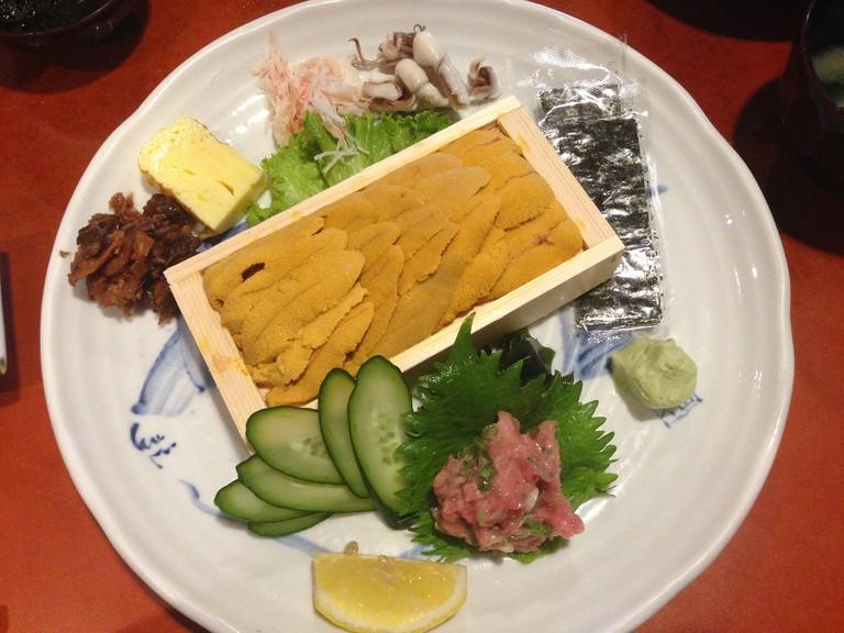 Uni and Sashimi at Sushi Gen
