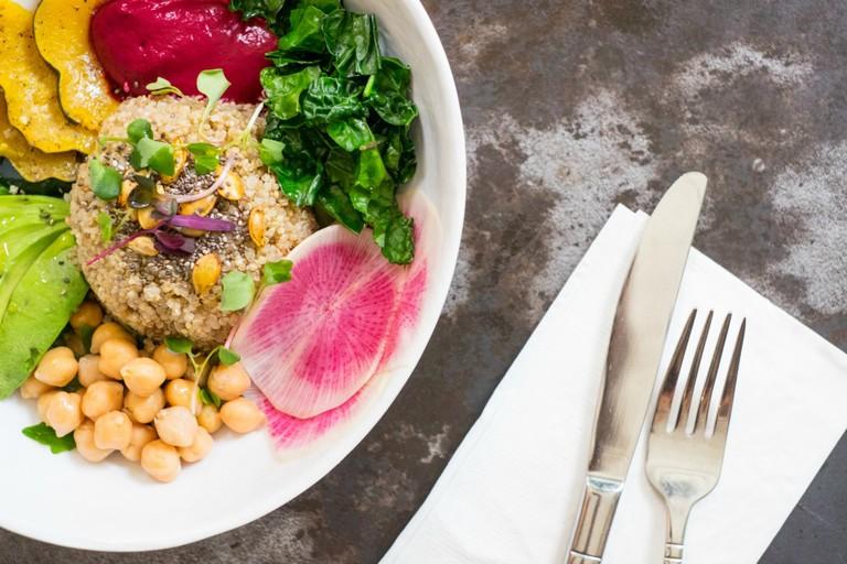 Quinoa Bowl with Beet Tahini