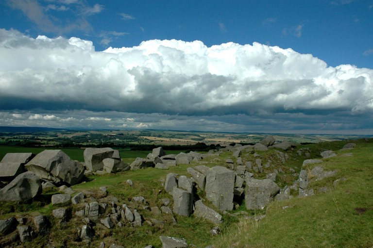 Hadrian's Wall Stones In The Northumberland National Park