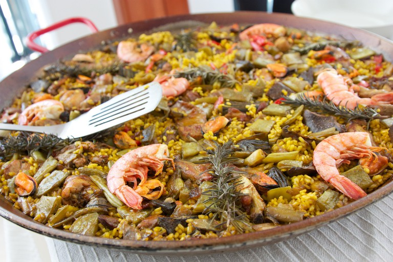 A traditional paella