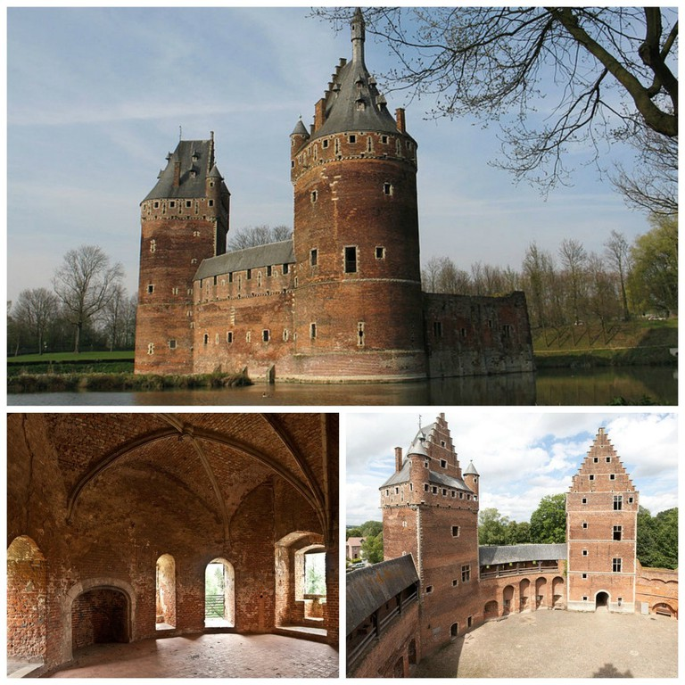 (Top) A full view of the 'Treasure of Beersel'  WikiCommons/ (Bottom left) Trek through the medieval rooms hidden in the castle   WikiCommons/ (Bottom right) Watch towers loom over a courtyard which hosts an annual medieval fair   WikiCommons