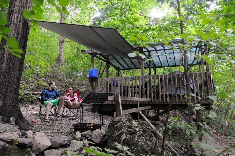 Campers Relax at Camp Platform - Malouf Mountain Sunset Campground