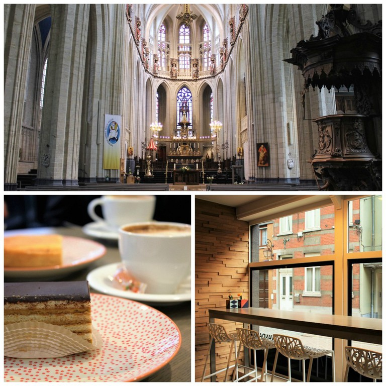 (Top) Visit the Basilica of Saint Martin   Courtesy of Anne Boyle/ (Bottom left) Enjoy a cake and cup of coffee at Vandaag   Courtesy of Anne Boyle/ (Bottom right) Enjoy a view of the Halle streets from Vandaag   Courtesy of Anne Boyle