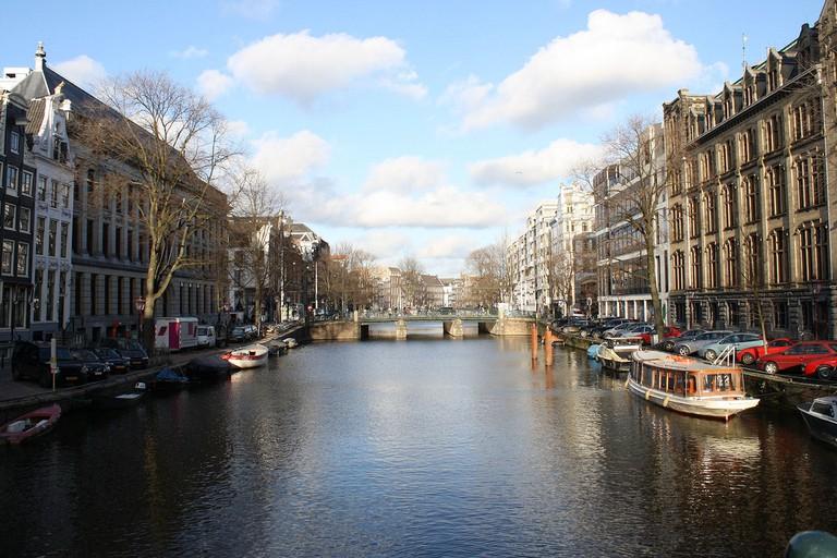 Amsterdam's Herengracht canal from Nieuwe Spiegelstraat