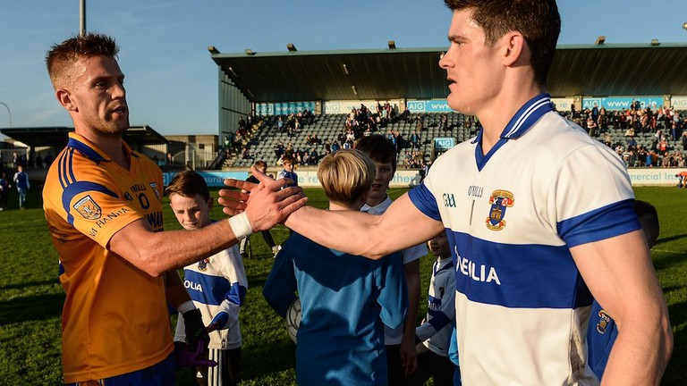 Jonny Cooper, Na Fianna, and Diarmuid Connolly, St Vincents, shake hands at Parnell Park