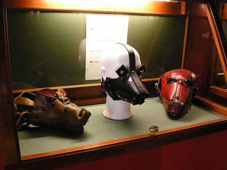 BDSM masks on display in the Sex Machines Museum