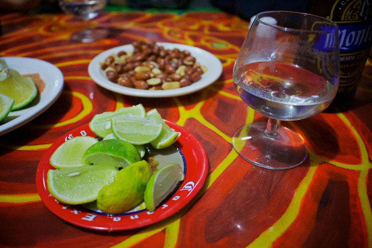 Mezcal and snacks