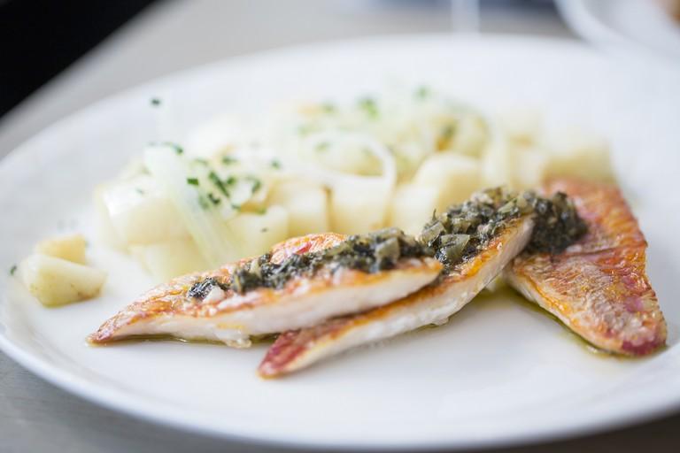 Fish dish at Café Miroir