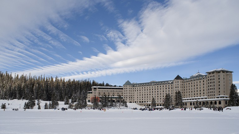 A frozen Lake Louise and its resort