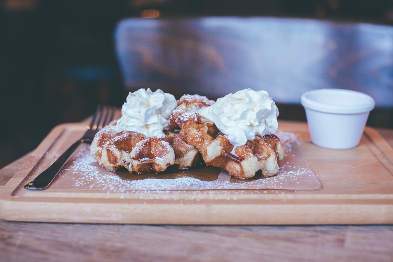 Waffles and cream