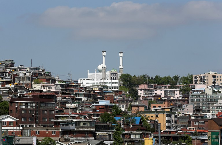 Seoul Central Mosque towers over the multicultural district of Itaewon