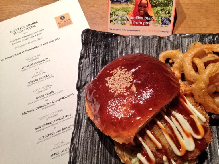 Try an Indian burger at Roti Chai