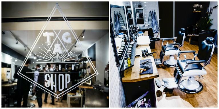 Barbershop window and chairs