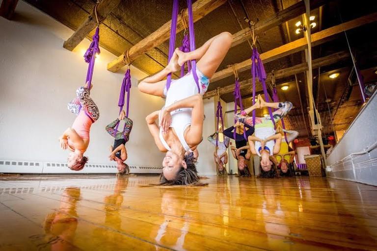 Aerial Yoga at Fly Studios   Courtesy of Fly Studio Inc.