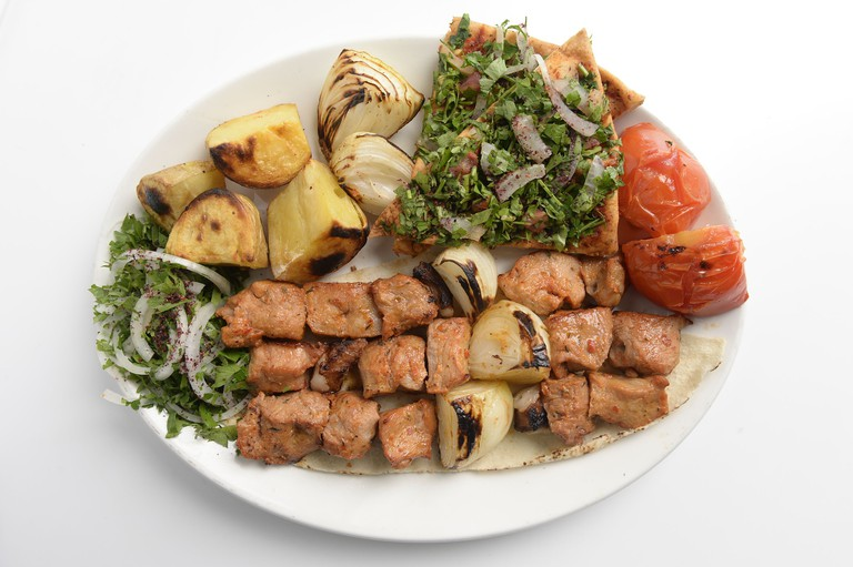 A delicious looking Lebanese food platter