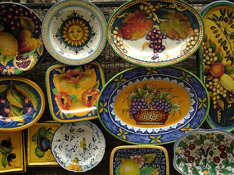 pottery san gimignano tuscany italy toscana europe ceramic pottery displayed at a local store in the medieval town of san gimignano