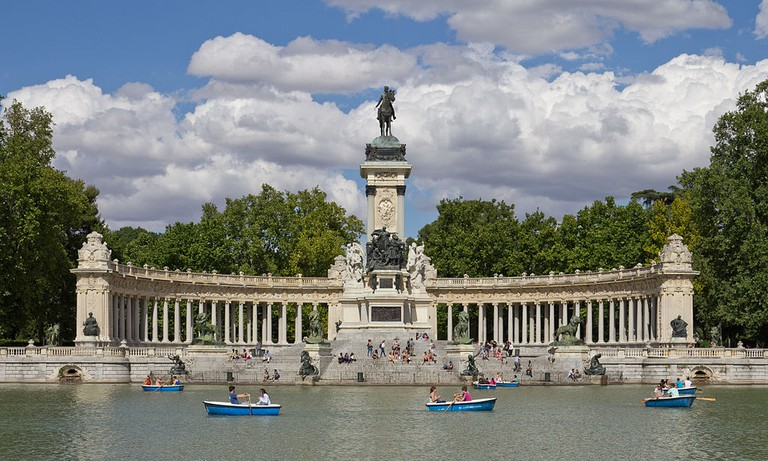 The lake and Alfonso XII monument at the Retiro Park