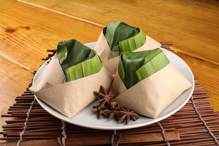 Malaysian nasi lemak packed with banana leaf