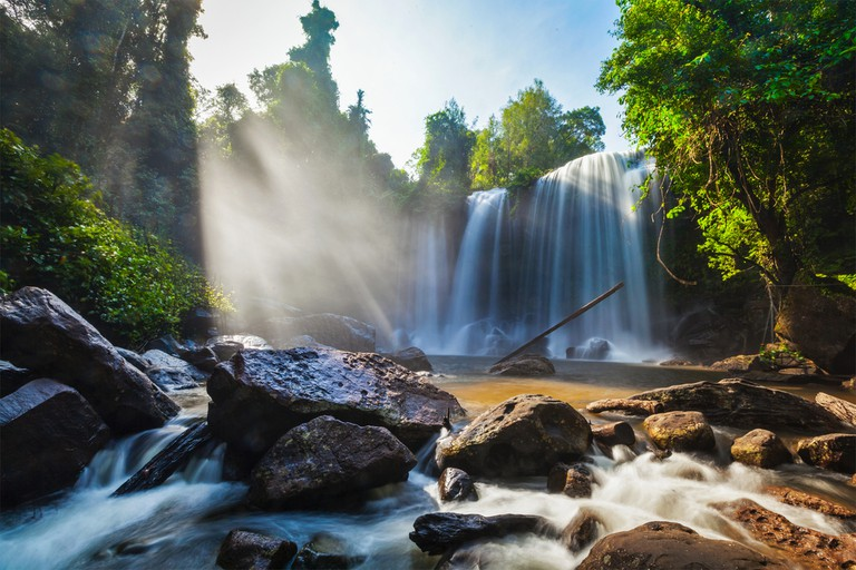 Tropical waterfall Phnom Kulen