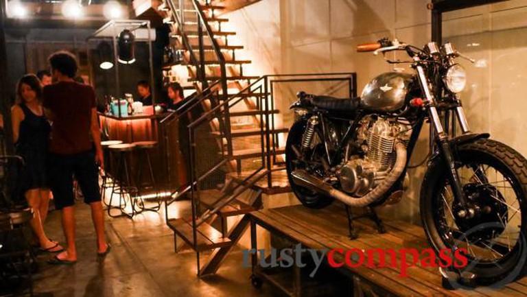 The inside of Hangar 44, one of the bars that line Bassac Lane